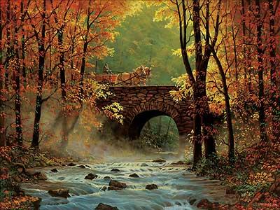 Autumn Bridge Painting Autumn Bridge With The